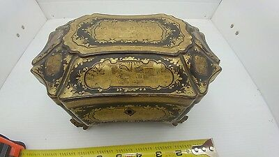 Antique Chinese 19Th Century Laquered Gold Painted Tea Box Caddy Dragon Carved