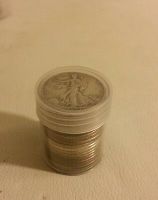 90% Silver Walking Liberty Half Dollars Roll 20 Coins $10 Face w/ plastic tube