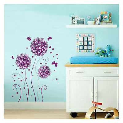 Purple Flower Butterfly Removable Decal Vinyl Art Home Room Decor Wall Sticker
