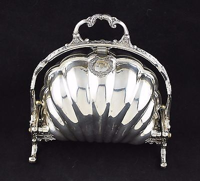 F.B. ROGERS SILVER PLATE Co FOLDING BISCUIT BOX SERVING DISH clam shell c1890
