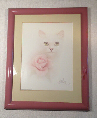 Bob Harrison  Print Signed  Vintage White Cat/kitten w/ Rose