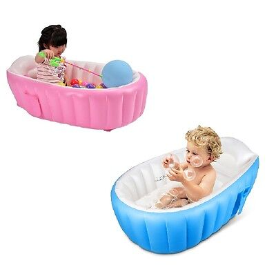 Inflatable Baby Bathtub Portable Foldable Pool Toddler Soft Cushion Blue Pink
