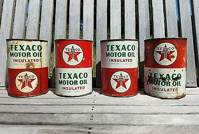 LOT OF 4 1940s TEXACO MOTOR OIL INSULATED 1 QT QUART CANS METAL DAD GIFT SET T41