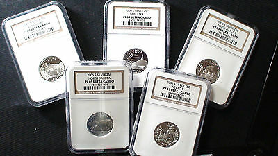 2006 S NGC PF69 Ultra Cameo Silver State Quarter 5 Coin Set