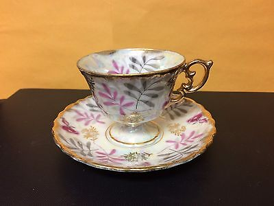 Vintage Royal Sealy China Opalescent Tea Cup And Saucer - Japan