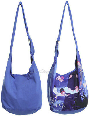 NEW Disney Peter Pan Wendy NEVER GROW UP Hobo Tote Beach Bag Purse Tinker Bell