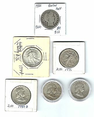 Lot Of 6 Silver Half Dollars Barber- Walking Liberty- Franklin Look No Reserve!