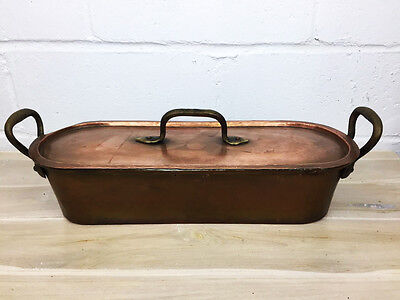 Beatiful Antique Large Copper Fish Poacher Steamer French Country Hand Hammered