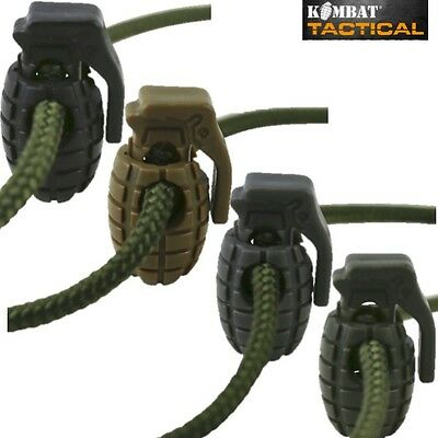 ARMY GRENADE SHAPE CORD STOPPER LOCK x8 PACK CLOTHING END TOGGLE METAL SPRING