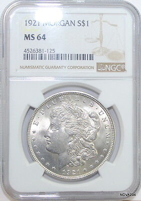 1921 Morgan Silver Dollar Ngc Ms-64    White