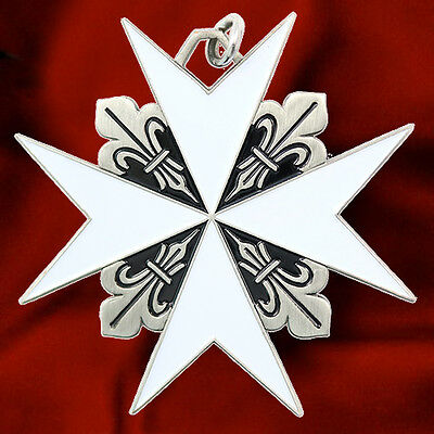 Maltese Cross Fleur De Lis Malta Knights St.john Christian Pendant Necklace