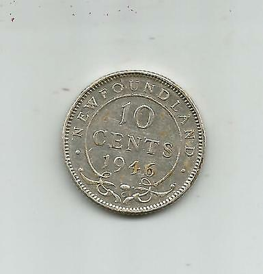 High Grade Newfoundland Sterling Silver 10 Cent  1946   -  Free Shipping
