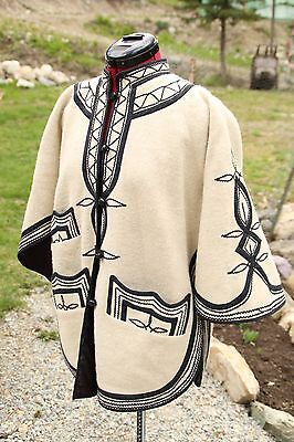 Rare Vintage 70s Mexican Gaucho Embroidered Jacket Floral Wool Hippie Jacket M-L