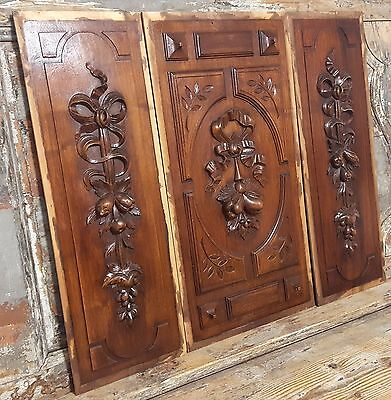 CARVED WOOD PANEL 3 MATCHED ANTIQUE FRENCH  BOW LOUIS XVI SALVAGED CARVING 19 th