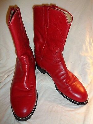 Justin Red Leather Roper Cowboy Western Boots Size Men's 8 D USA
