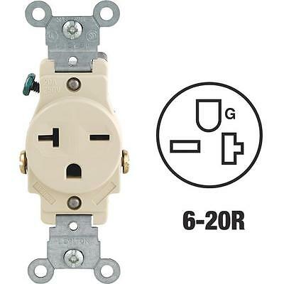 10 Pk Leviton 20A Ivory Heavy-Duty 6-20R Grounding Single Outlet S01-5821ISP