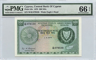 Cyprus Central Bank of Cyprus 500 Mils PMG 66 Gem Uncirclated EPQ