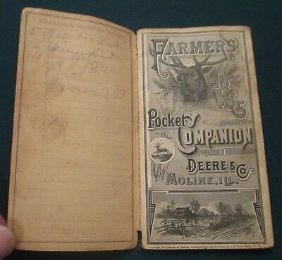 1885 John Deere Pocket Companion Farm Ledger Catalog Hendrickson Argyle WI