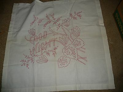 #829F antique RED EMBROIDERED STITCH SAMPLER ?   GOOD NIGHT