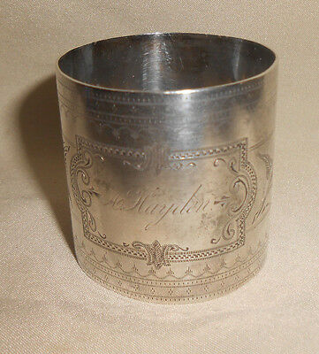 Antique Coin Silver Napkin Ring With Design Engraved A. Hayden