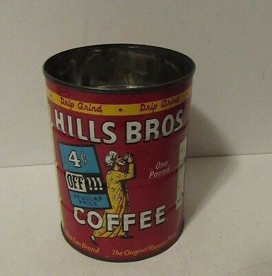 Vintage 1930's Hills Brothers Coffee Can Tin - Red Can Brand No Lid Hills Bros
