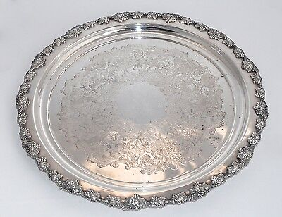 38cm Huge Vintage Silver Plate Etched Tray - England - Grape & Vine Band