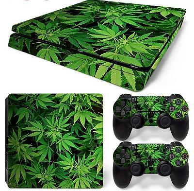 HQ vinyl sticker=for PS4 SLIM Console-cannabis leaf weed pot draw 420 mary jane