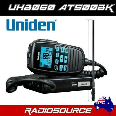 UNIDEN UH8060S UHF CB 80CH RADIO & Uniden AT500BK Black Fibreglass Antenna
