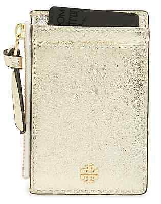 NWT Tory Burch Crinkled Leather GOLD Zip Card Case Wallet Change Key Case $95
