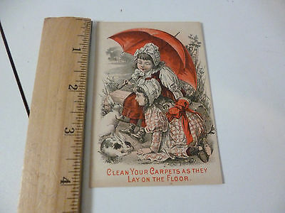 Nine O'Clock Washing Tea Trade Card Girls w Red Umbrella & Rabbits