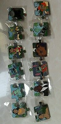Disney pins badge stitch puzzle set complete LE with boxes