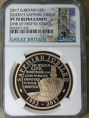 """Great Britain G£5 2017 """"The Queen's Sapphire Jubilee"""" Gold NGC PF70 * AvenueCoin"""