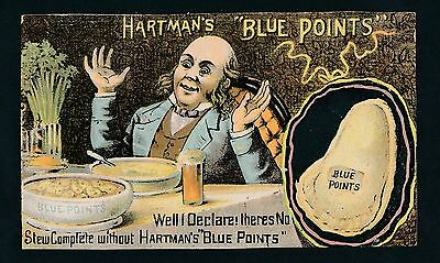 1880's Hartman's Blue Points Oyster shaped Crackers advertising trade card