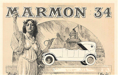 1918 Original MARMON 34 Two COLOR Two-Sided Advertising BROCHURE. Indianapolis
