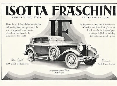 1928 Original ISOTTA FRASCHINI Inside-Drive Touring SEDAN AD. Half-page Ad