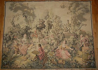 """100 year old reproduction of an 18th century french tapestry  71"""" w  54"""" t"""