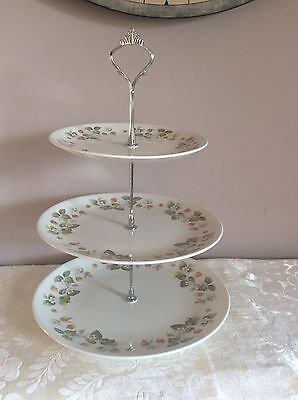 "3 Tier High Tea Cake Stand Retro ""Snowhite"" Plates By Johnson Bros ~ England"