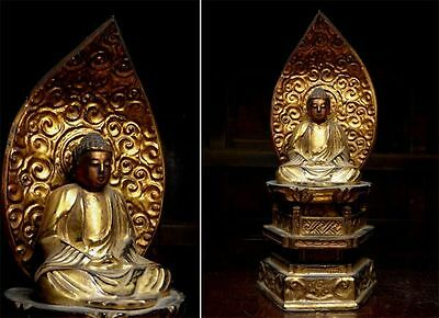 old  Japanese Japan,religious Wooden Buddhism Buddha statue 29cm