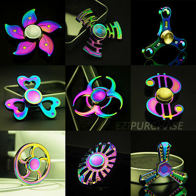 Rainbow Tri Fidget Finger Hand Spinner Alloy EDC Focus ADHD Autism Toy Gyro S001