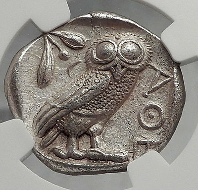 ATHENS Greece Ancient Silver Greek TETRADRACHM Coin Athena & Owl NGC MS i61930