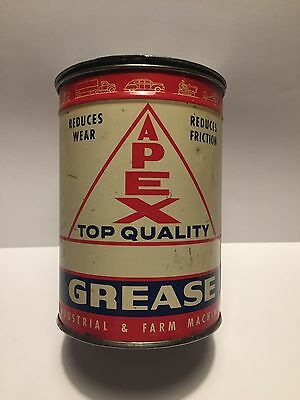 Vintage 1 Lb Apex Top Quality Brand Grease Can Oil Graphic Advertising Tin