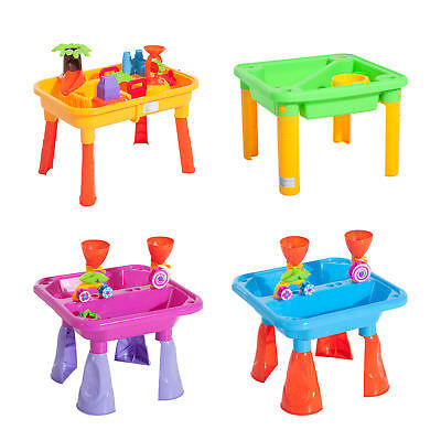 Children Sand Pit Play Set Sand Box Set Kid Toy Beach Sand and Water Table Chair