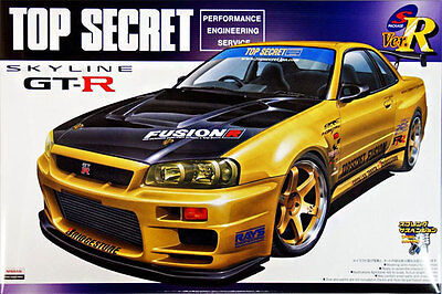 1/24 AOSHIMA 004172 NISSAN TOP SECRET R34 SKYLINE GTR Plastic Model Car Kit