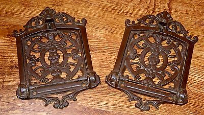 2 Antique Ornate Metal Speak Easy Door Grill Backplate Hardware Mail