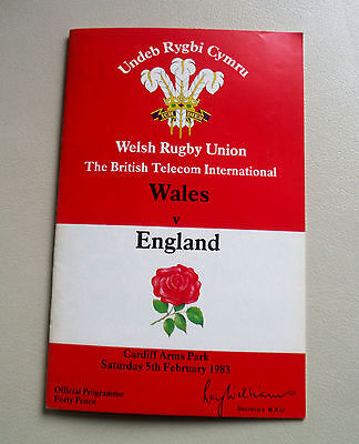 Rugby Union Programme Wales V England-Arms Park 1983