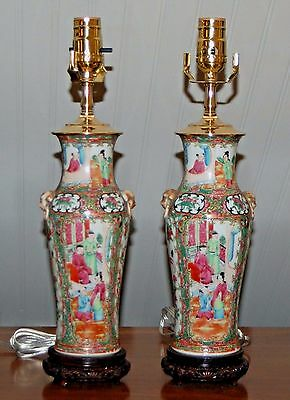 PAIR Chinese ROSE MEDALLION Antique Lamps Vases Famille Rose QING 19th Century