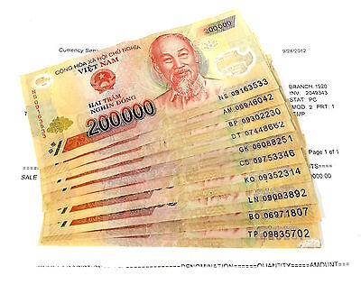 2 Million VND - Vietnam Dong - 200,000 x 10 Notes = 2,000,000 -  DeLaRue Tested