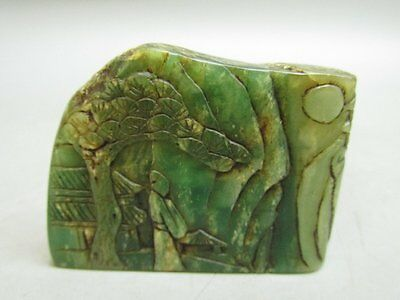 Chinese Green Dong Lin Stone Carved Person Tree Chop Stamp / Seal