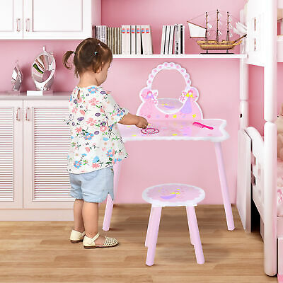 Make Up Play Set Desk Chair Mirror Girls Pink Dressing Table MDF Pink