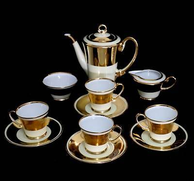 Vintage Noritake art deco green stamp gold & cream 4 person coffee set